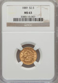 Liberty Quarter Eagles: , 1889 $2 1/2 MS63 NGC. NGC Census: (64/44). PCGS Population (49/52).Mintage: 17,648. Numismedia Wsl. Price for problem free...