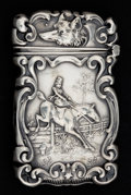 Silver Smalls:Match Safes, AN AMERICAN SILVER MATCH SAFE . Unknown maker, American, circa1900. Marks: STERLING 925 1000. 2-1/2 inches high 6.4 cm)...