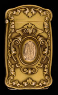 Silver Smalls:Match Safes, A BATTIN 14K GOLD COMBINATION MATCH SAFE AND PICTURE FRAME HOLDER .Battin & Co., Newark, New Jersey, circa 1896. Marks:P...