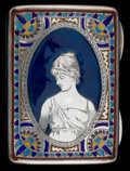 Silver Smalls:Match Safes, A GORHAM SILVER AND ENAMEL CIGARETTE CASE. Gorham ManufacturingCo., Providence, Rhode Island, circa 1886. Marks: (lion-anch...