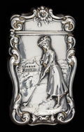 Silver Smalls:Match Safes, AN AMERICAN SILVER AND SILVER GILT GOLF MATCH SAFE . Unknown maker,American, circa 1900. Marks: STERLING. 2-5/8 inches ...