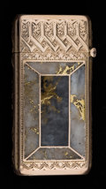 Silver & Vertu:Smalls & Jewelry, AN AMERICAN GOLD AND GOLD QUARTZ MATCH SAFE . Maker unknown, American, circa 1900. Unmarked. 2-1/8 inches (5.4 cm). 0.8 gros...