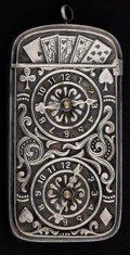 Silver Smalls:Match Safes, AN AMERICAN SILVER PLATED MATCH SAFE . Maker unknown, American,circa 1900. Unmarked . 2-5/8 inches high (6.7 cm). 1.2 ounce...