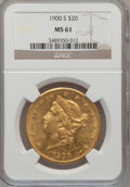 Liberty Double Eagles: , 1900-S $20 MS61 NGC. NGC Census: (2637/3048). PCGS Population(1408/2726). Mintage: 2,459,500. Numismedia Wsl. Price for pr...