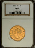 Liberty Eagles: , 1846-O $10 XF40 NGC. NGC Census: (16/57). PCGS Population (15/11).Mintage: 81,780. Numismedia Wsl. Price: $1,350. (#8595)...