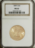 Liberty Eagles: , 1899 $10 MS62 NGC. NGC Census: (5175/4923). PCGS Population(3626/1704). Mintage: 1,262,305. Numismedia Wsl. Price: $365. (...