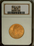 Indian Eagles: , 1908-S $10 MS60 NGC. NGC Census: (11/123). PCGS Population (6/145).Mintage: 59,850. Numismedia Wsl. Price: $2,175. (#8861)...