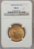 Indian Eagles: , 1908 $10 Motto MS61 NGC. NGC Census: (997/1905). PCGS Population(384/2002). Mintage: 341,300. Numismedia Wsl. Price for pr...