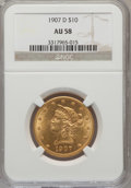 Liberty Eagles: , 1907-D $10 AU58 NGC. NGC Census: (91/176). PCGS Population(50/485). Mintage: 1,030,000. Numismedia Wsl. Price for problem ...