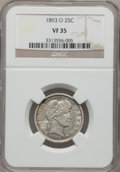 Barber Quarters: , 1893-O 25C VF35 NGC. NGC Census: (2/151). PCGS Population (3/217).Mintage: 3,396,000. Numismedia Wsl. Price for problem fr...