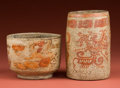 American Indian Art:Pottery, Maya Painted Vase and Bowl... (Total: 2 Items)