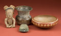 American Indian Art:Pottery, Collection of Vessels, A Veracruz Figurine, and Axe... (Total: 4Items)