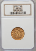 Liberty Half Eagles: , 1882 $5 MS60 NGC. NGC Census: (244/5649). PCGS Population (232/2623). Mintage: 2,514,568. Numismedia Wsl. Price for problem...