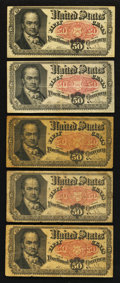 Fractional Currency:Fifth Issue, Fr. 1380 50¢ Fifth Issue Notes. Very Good to Very Fine. FiveExamples.. ... (Total: 5 notes)