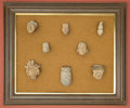 American Indian Art:Pipes, Tools, and Weapons, Mounted Group of Head Fragments...