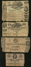 Confederate Notes:1862 Issues, Lower Denominations $2; $1; and 50 Cents 1862-63.. ... (Total: 11notes)