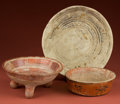 American Indian Art:Pottery, Maya Bowl, Michoacan Tripod, and Huastec Plate... (Total: 3 Items)