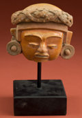 American Indian Art:Pottery, Fine Maya Woman's Face Fragment...