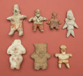 American Indian Art:Pottery, Interesting Collection of Jalisco, Huastec, and Veracruz Figures...(Total: 7 Items)