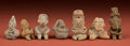 American Indian Art:Pottery, Interesting Collection of Seven Pre-Classic Seated Figurines...(Total: 7 Items)