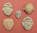 American Indian Art:Pottery, Lot of Four Toltec Masks and Huastec Head Jar... (Total: 5 Items)