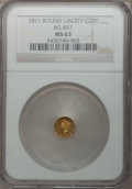 California Fractional Gold: , 1871 25C Liberty Round 25 Cents, BG-857, High R.4, MS63 NGC. NGCCensus: (3/2). PCGS Population (23/7). (#10718)...
