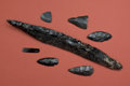American Indian Art:Pottery, Obsidian Sword and Other Implements... (Total: 7 Items)