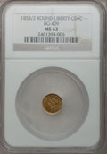 California Fractional Gold, 1853/2 50C Liberty Round 50 Cents, BG-409, R.3, MS63 NGC. NGCCensus: (5/1). PCGS Population (18/10). (#10445)...