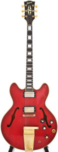 Musical Instruments:Electric Guitars, 1966-69 Gibson ES-355 Cherry Semi-Hollow Body Electric Guitar,#848647....