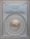 California Fractional Gold, 1870 25C Liberty Round 25 Cents, BG-808, R.3, MS64+ PCGS. PCGSPopulation (61/65). NGC Census: (8/16). (#10669)...