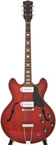 Musical Instruments:Electric Guitars, 1965 Gibson ES-330 Cherry Semi-Hollow Body Electric Guitar,#350721....