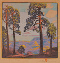 Prints, GUSTAVE BAUMANN (German/American, 1881-1971). Pines - Grand Cañon, 1920. Color woodcut on Zanders Bergisch Gladbach pape...
