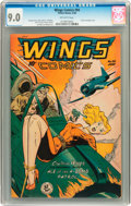 Golden Age (1938-1955):War, Wings Comics #94 (Fiction House, 1948) CGC VF/NM 9.0 Off-whitepages....