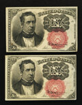 Fractional Currency:Fifth Issue, Fr. 1266 10¢ Fifth Issue About New. Two Examples.. ... (Total: 2notes)