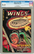Golden Age (1938-1955):War, Wings Comics #112 Mile High pedigree (Fiction House, 1950) CGC VF8.0 Off-white to white pages....
