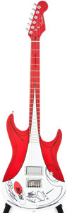 Musical Instruments:Electric Guitars, 2005 Fender Custom Red & White Solid Body Electric Guitar, #05053490....
