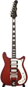 Musical Instruments:Electric Guitars, 1965 Epiphone Crestwood Cherry Solid Body Electric Guitar,#341864....