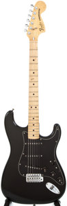 Musical Instruments:Electric Guitars, 1980 Fender Stratocaster Black Solid Body Electric Guitar, #S966277....