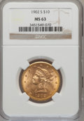 Liberty Eagles: , 1902-S $10 MS63 NGC. NGC Census: (895/797). PCGS Population (765/521). Mintage: 469,500. Numismedia Wsl. Price for problem ...