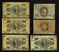 Fractional Currency:Second Issue, Mixed Lot of 10¢ Fractionals. Very Good to About New. Six Examples.. ... (Total: 6 notes)