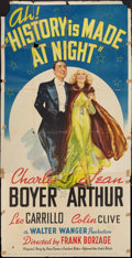 "Movie Posters:Romance, History is Made at Night (United Artists, 1937). Three Sheet (41"" X81""). Romance.. ..."