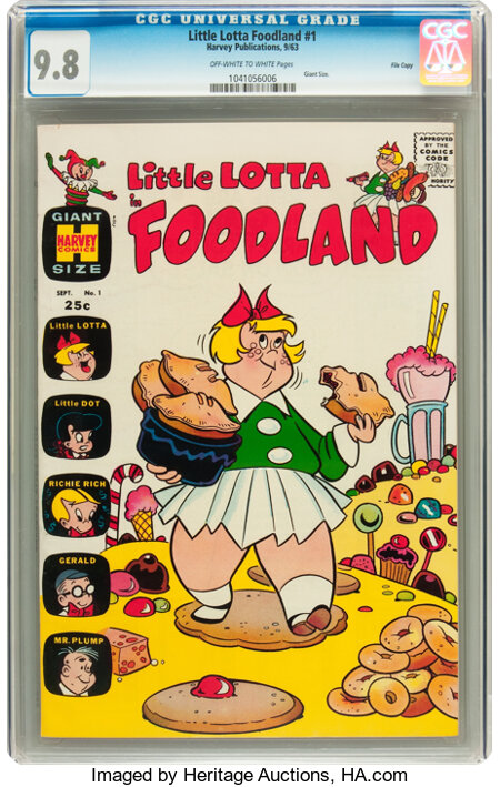 Little Lotta Foodland #1 File Copy (Harvey, 1963) CGC NM/MT 9.8 Off-white to white pages....