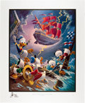 Original Comic Art:Miscellaneous, Carl Barks Afoul of the Flying Dutchman Gold Plate EditionLithograph #27/100 (Another Rainbow, 1985).... (Total: 2 Items)