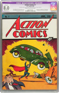 Golden Age (1938-1955):Superhero, Action Comics #1 (DC, 1938) CGC Apparent VF 8.0 Moderate (P) Creamto off-white pages....