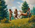 Mainstream Illustration, ARTHUR SARON SARNOFF (American, 1912-2000). Bringing Home theBuck. Oil on canvas. 24 x 30 in.. Signed lower right....