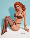 Pin-up and Glamour Art, ARTHUR SARON SARNOFF (American, 1912-2000). Pin-Up in BlackLingerie, 1993. Oil on canvas. 30 x 24 in.. Signed lower rig...