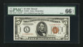 Small Size:World War II Emergency Notes, Fr. 2301 $5 1934 Hawaii Mule Federal Reserve Note. PMG Gem Uncirculated 66 EPQ.. ...