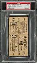 Baseball Collectibles:Tickets, 1972 Roberto Clemente 3,000th Hit Full Ticket, Only KnownExample....