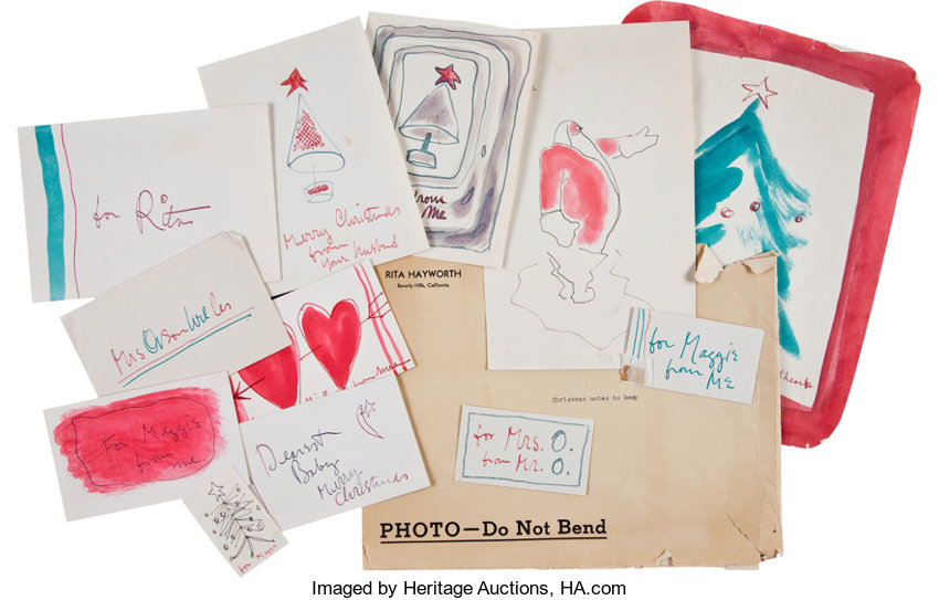 Christmas Notecards.Orson Welles Collection Of Hand Drawn Christmas Notecards To