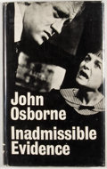 Books:First Editions, John Osborne. Inadmissible Evidence. London: Faber andFaber, [1965]. First edition. Octavo. Publisher's binding and...